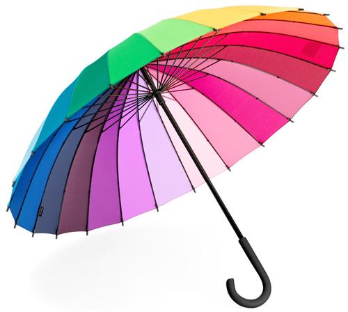 Разноцветный зонт всегда поднимет настроение.