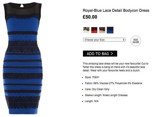 Страничка знаменитого сине-черного платья взорвавшего интернет в онлайн-магазине.