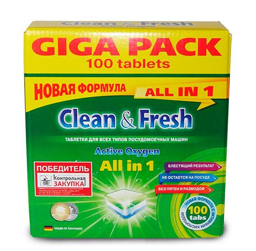 Таблетки для посудомоечной машины Clean & Fresh All in 1.