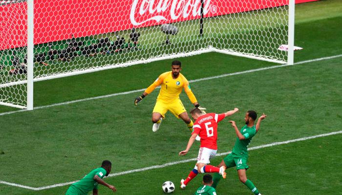 Второй гол Дениса ЧЕРЫШЕВА в матче Россия – Саудовская Аравия.