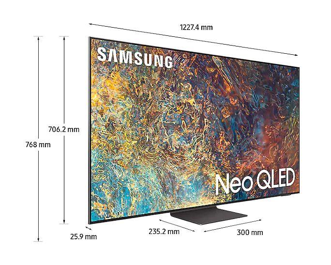 Характеристики телевизора Samsung QN91A: Размер: 55 дюймов (16:9), Тип панели: OLED. Разрешение экрана: 4K. Динамический диапазон: HLG и HDR10+. Частота обновления: 120 Гц. Smart TV: ОС Tizen.