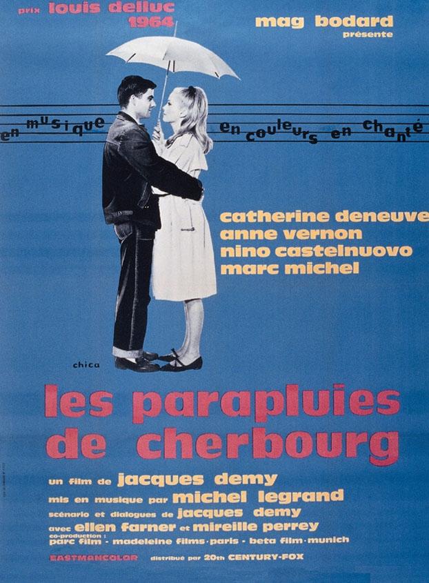Французский постер к музыкальному фильму «Les Parapluies de Cherbourg» (1963) режысера Жака Деми (совместное производство Франция- ФРГ)