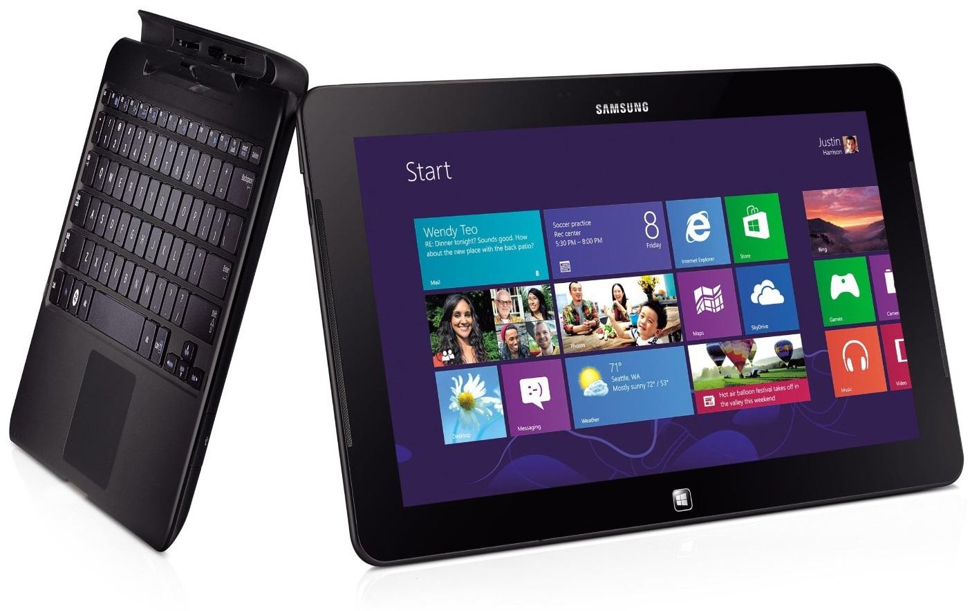 """Бизнес-планшет Samsung ATIV Smart PC Pro 64GB с стандартом связи 3G под управлением ОС Windows 8. Диагональ PLS экрана 11.6"""" (1920x1080). Процессор Intel Pentium 987 (1,5 ГГц, 2 МБ кэша L3), RAM - 4 ГБайта. Обращаем внимание на съёмную клавиатуру в комплекте. Отличный подарок на январь 2014 года."""