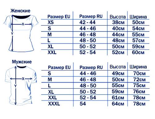 Таблица размеров мужских и женских футболок.