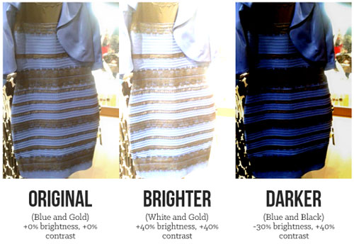На фото видно, как видят платье сине-черным и бело-золотым. А как видите Вы?