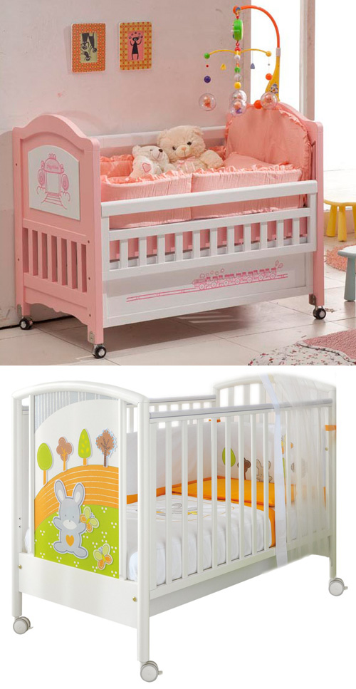 Детская кроватка на колесиках (без качания)