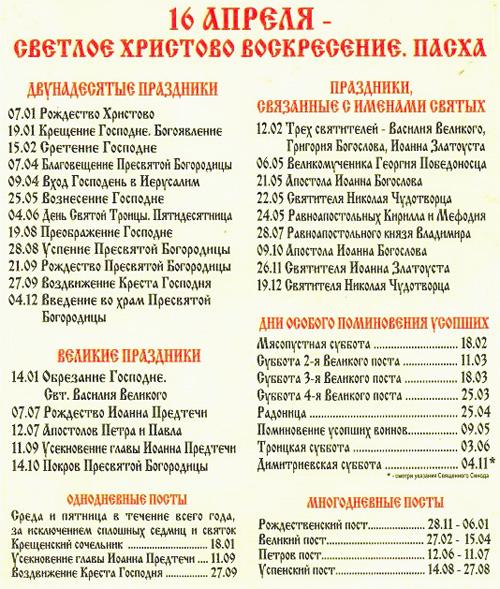 Церковный православный календарь праздников и постов на 2017 год.