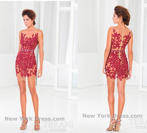 Короткое платье с лиственной аппликацией винного цвета от дизайнера Terani – идеальный выбор для встречи Нового года 2017.