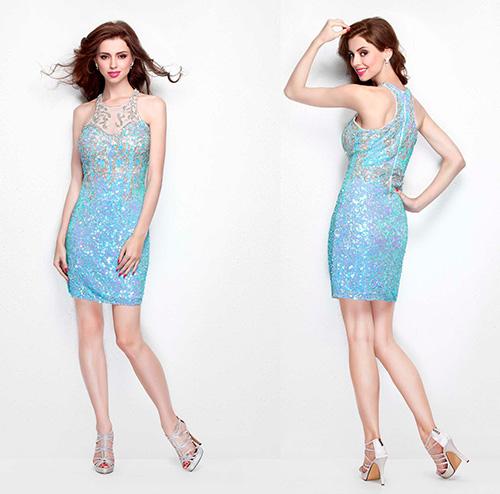 Хорошим выбором станут платья на Новый год 2017 оформленные бисером, как это голубое коктейльное мини платье без рукавов дизайна Primavera Couture.