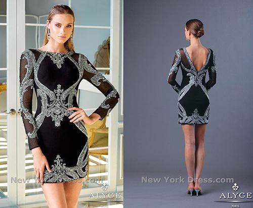 Как и маленькое черное платье со сверкающими вставками от дизайнера Alyce Paris.