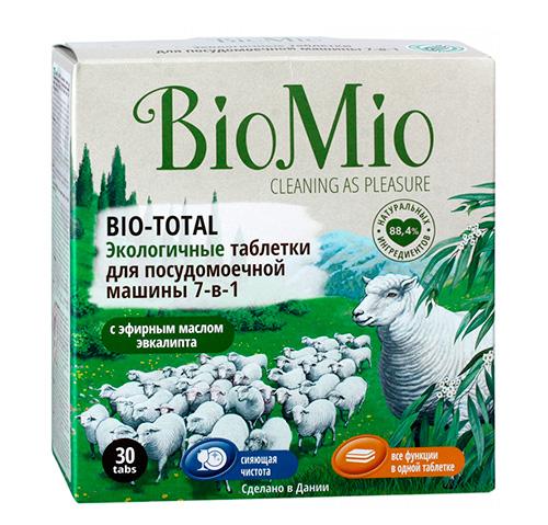 Экологичные таблетки для посудомоечной машины BioMio Bio-total.