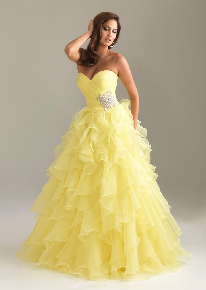 Желтое свадебное платье.